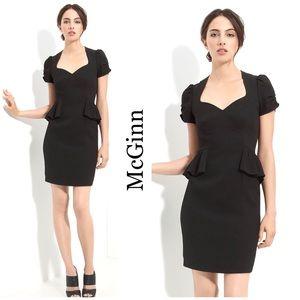 McGinn Black Peplum Waist Cocktail Dress LBD